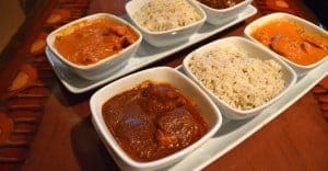 Butter Chicken, Basmati Rice, Beef Short Ribs, Spicy Shrimp