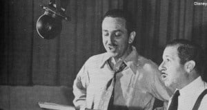 "Walt Disney recording the voice of Mickey Mouse, with Clarence ""Ducky"" Nash doing the voice of Donald Duck."