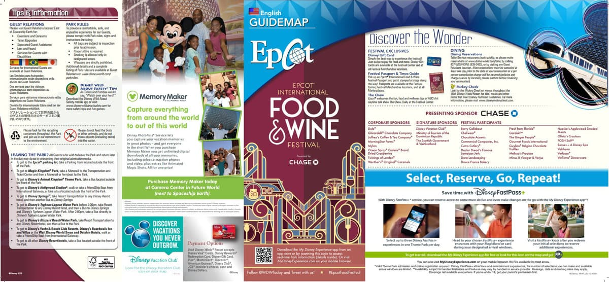 2015 Epcot International Food and Wine Festival Park Map