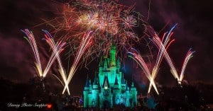 Castle at night with fireworks
