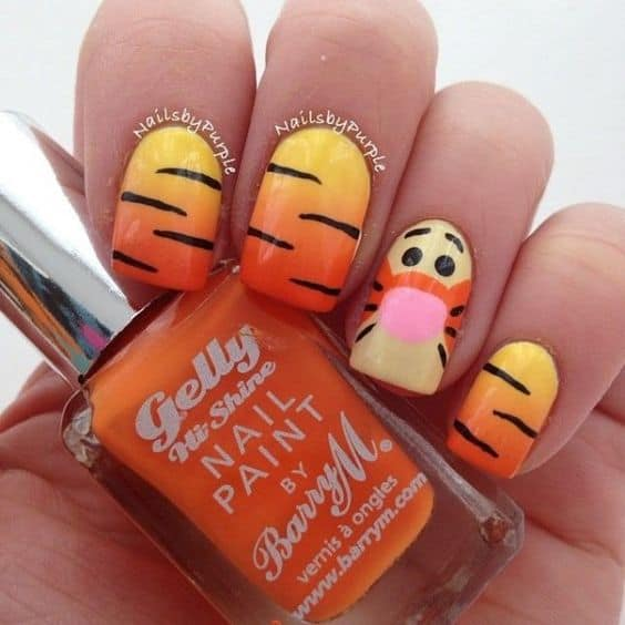Tigger Nails: 20 Awesome Disney Nail Art Ideas