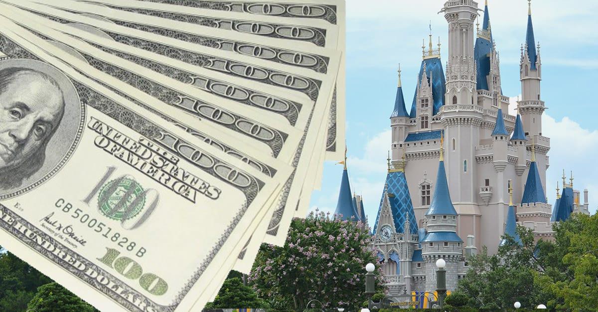 Disney Castle with Dollar Bills