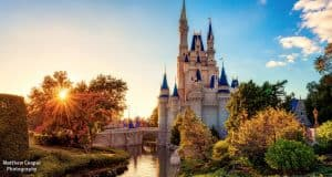 Disney Castle with Sunset