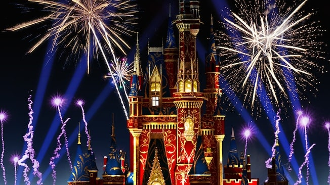 Cinderella Castle Fireworks  _ Photo Credit Disney