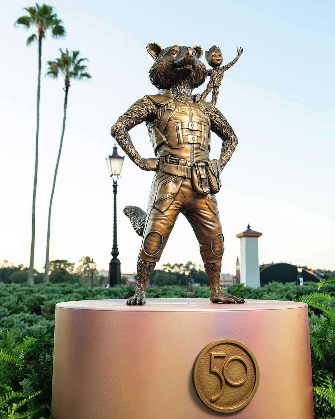 Groot and Rocket Fab 50 Epcot statue