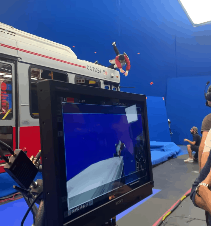 A picture posted by Simu Liu gives an inside view of how the movie was being shot with the bus scene.