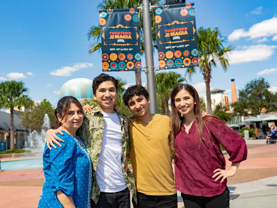 Anthony Gonzalez and family in EPCOT